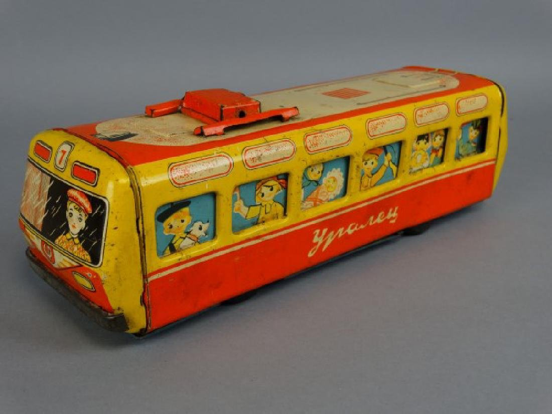 1950s Russian Tin Child's Toy Trolley