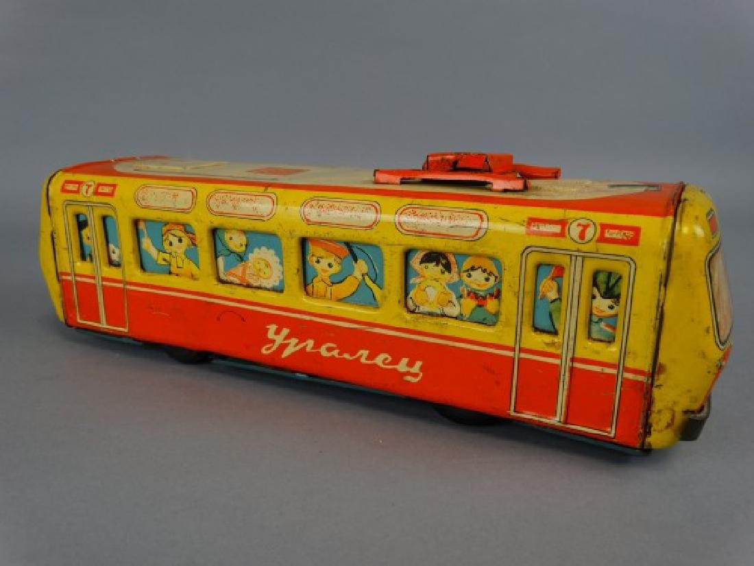 1950s Russian Tin Child's Toy Trolley - 4