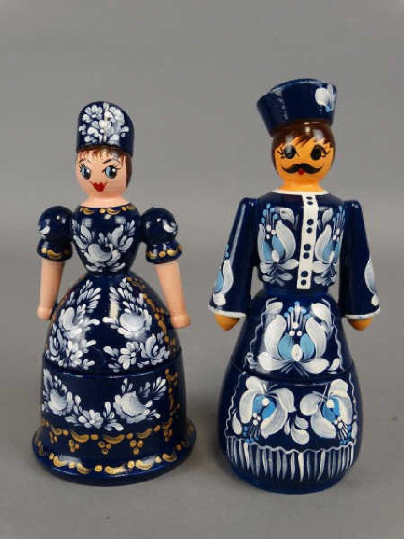 Pair of Russian Wooden Figural Boxes