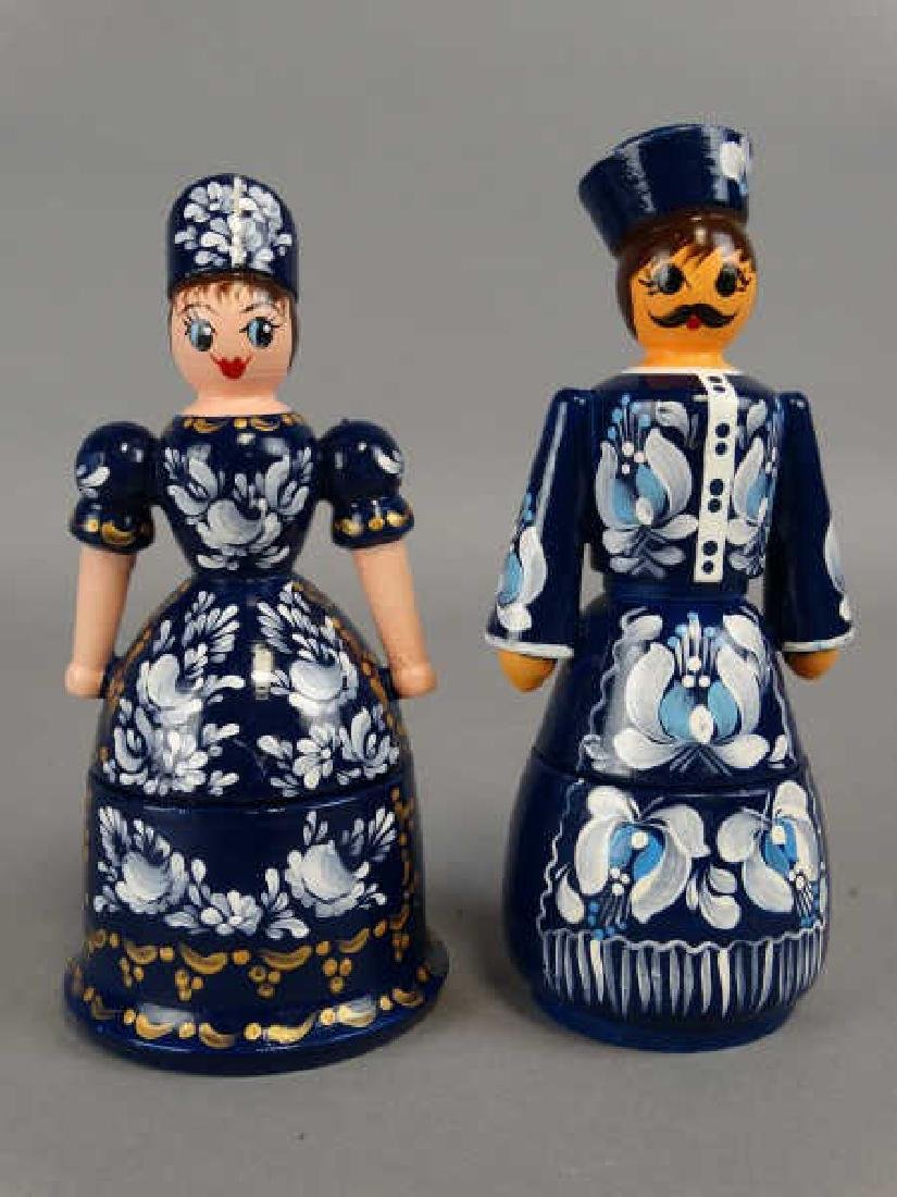 Pair of Russian Wooden Figural Boxes - 2