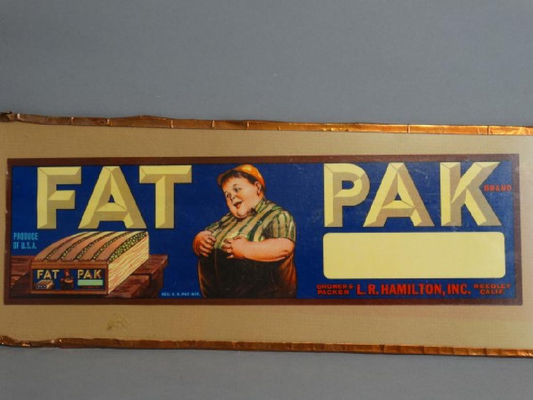 Original Fruit Crate Label - Fat Pak Brand Grapes