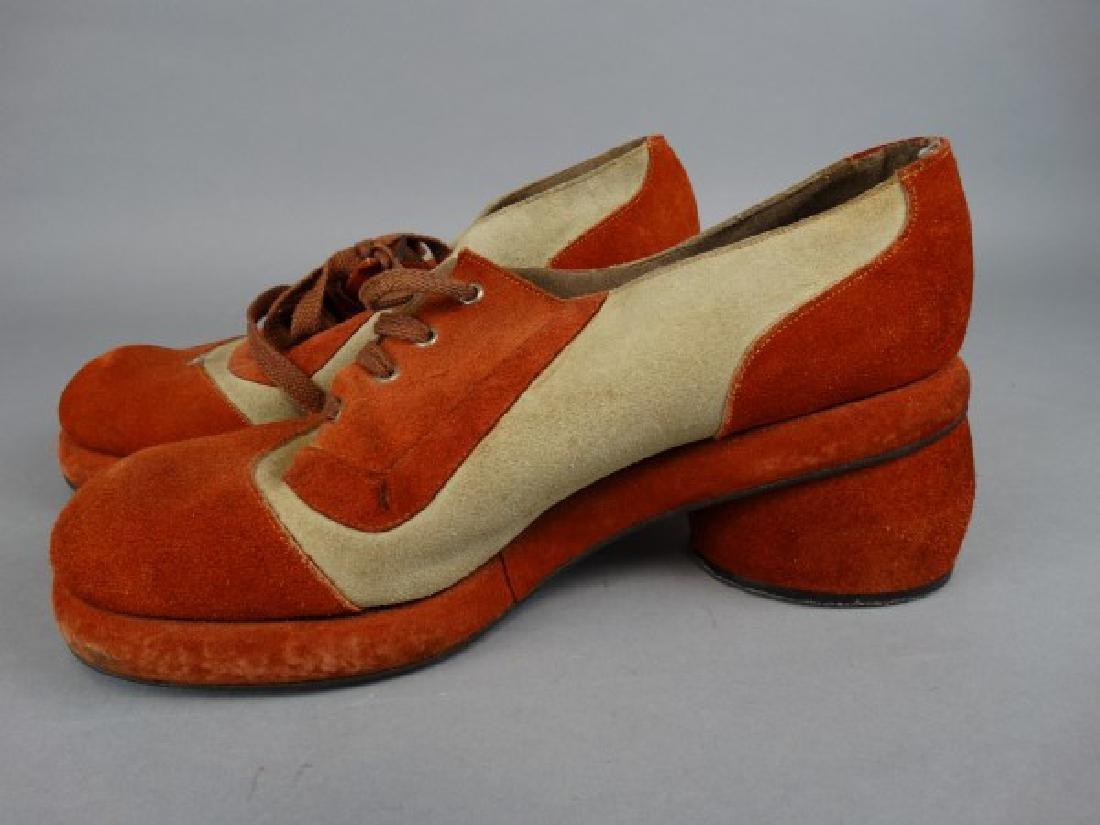 Pair of Retro 70s Platform Suede Shoes