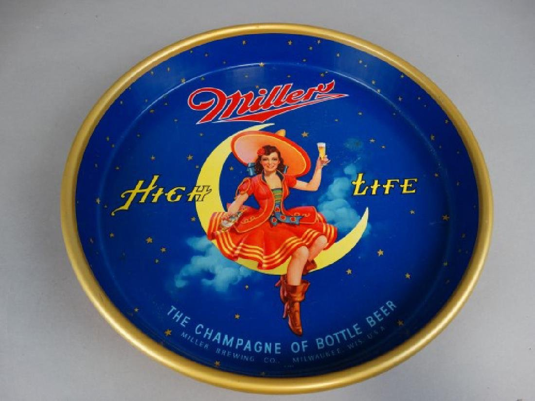Vintage Miller High Life Round Tray