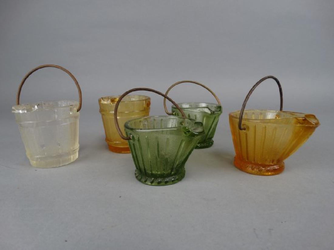 5 Cambridge Glass Bucket & Coal Scuttle Ashtrays