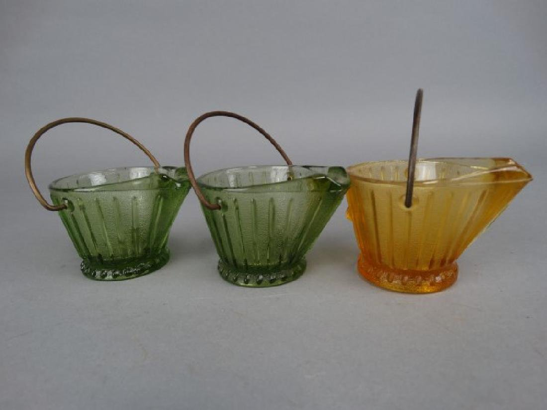 5 Cambridge Glass Bucket & Coal Scuttle Ashtrays - 2