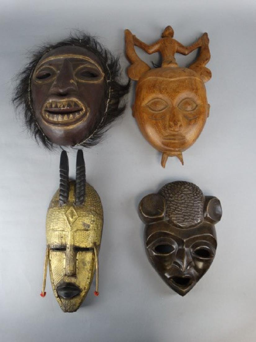 Group of 4 Wooden Ethnographic Masks - 2