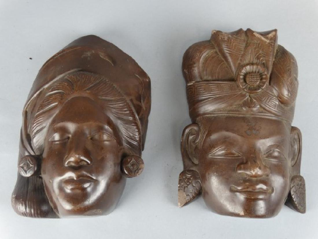Pair of Carved Stone Masks - 2