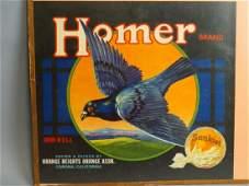 Original Fruit Crate Label  Homer Brand Oranges