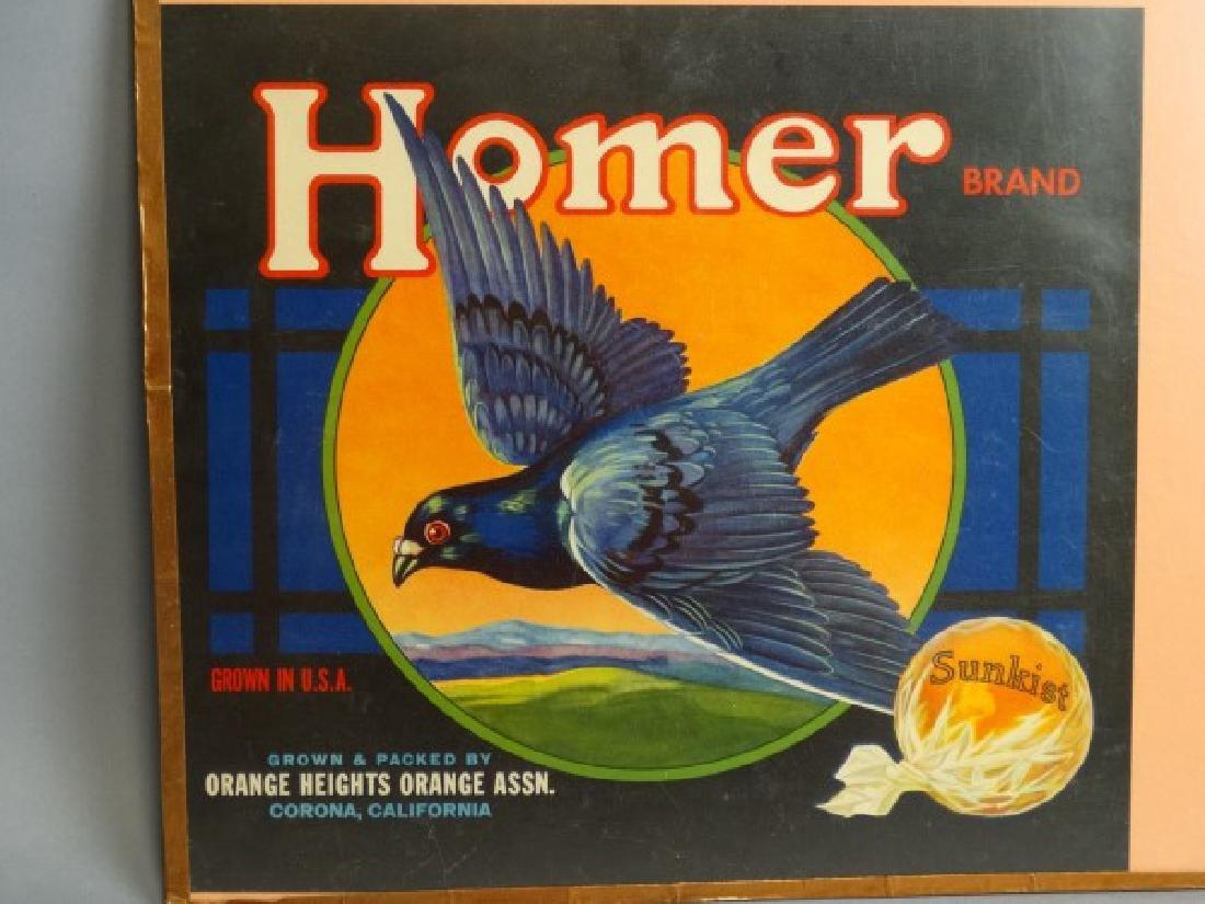 Original Fruit Crate Label - Homer Brand Oranges
