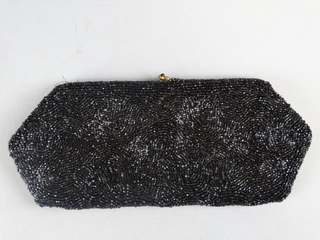 Vintage Black Beaded Handbag - 2
