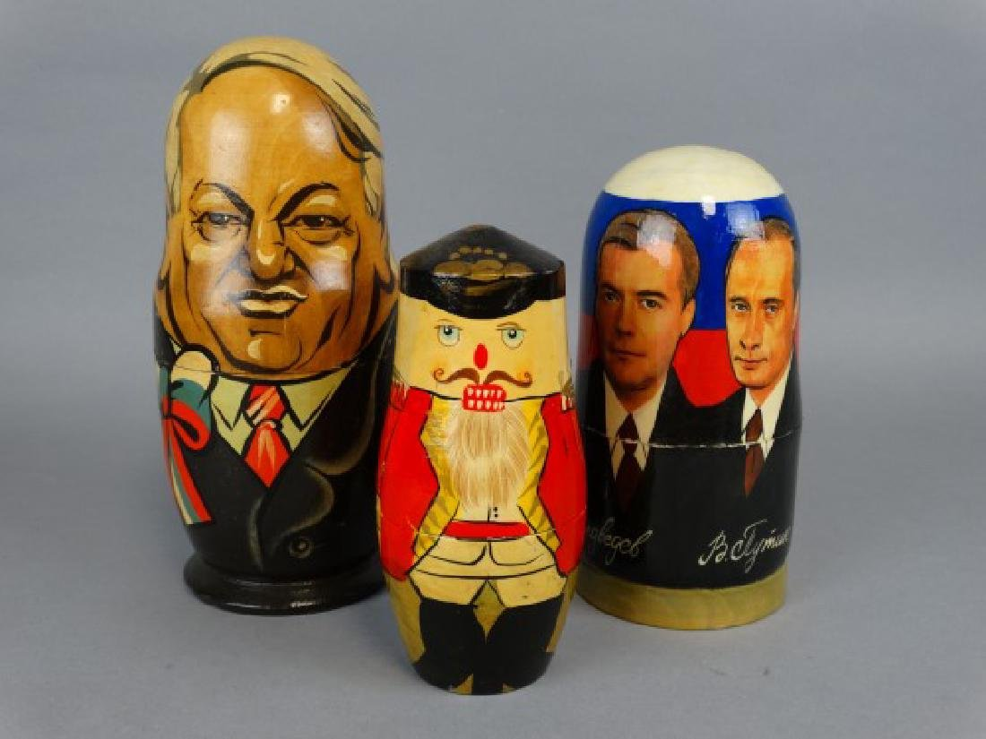 Group of 3 Hand-Painted Russian Nesting Dolls