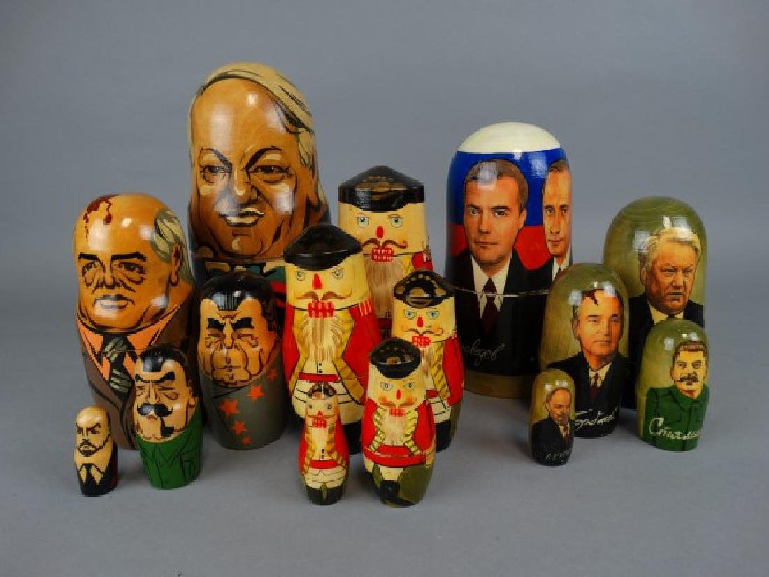 Group of 3 Hand-Painted Russian Nesting Dolls - 2