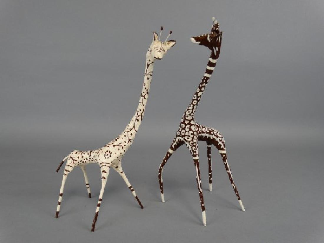 Lot of 2 Artist Giraffe Sculptures