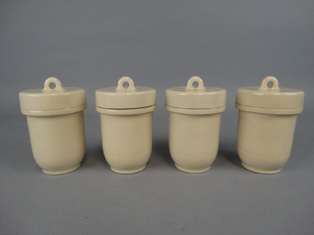 Group of 4 English Porcelain Egg Coddlers