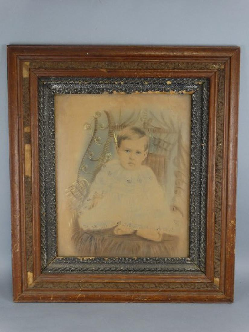 Antique Framed Colorized Portriat of Baby