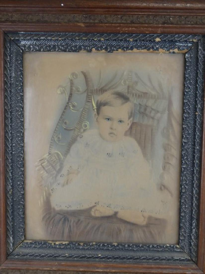 Antique Framed Colorized Portriat of Baby - 2