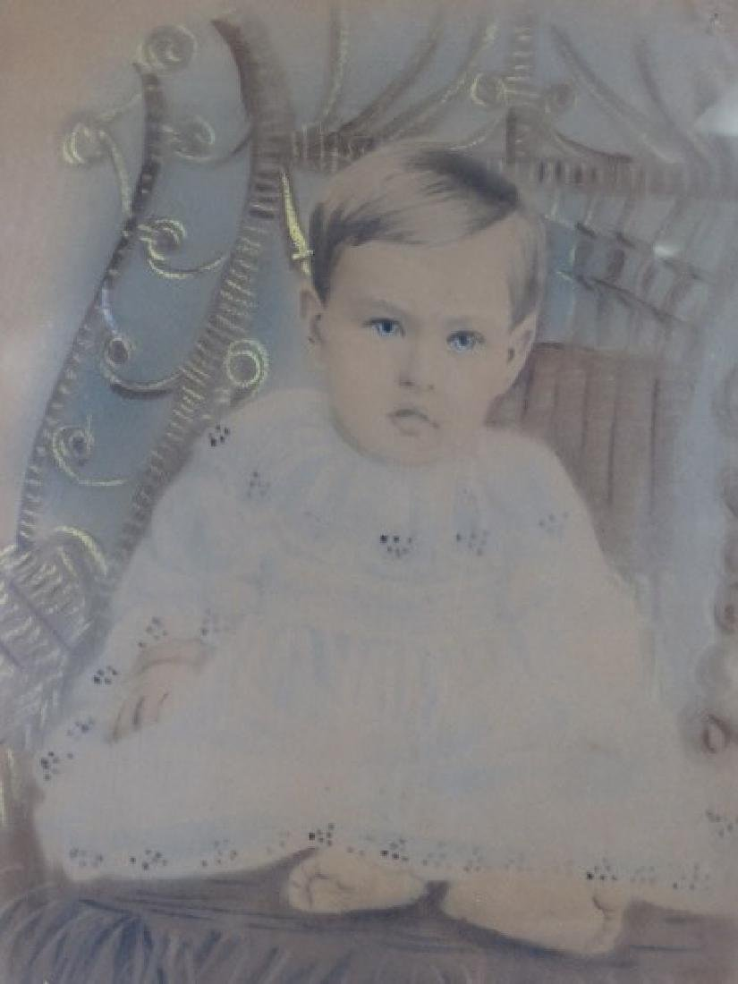 Antique Framed Colorized Portriat of Baby - 3