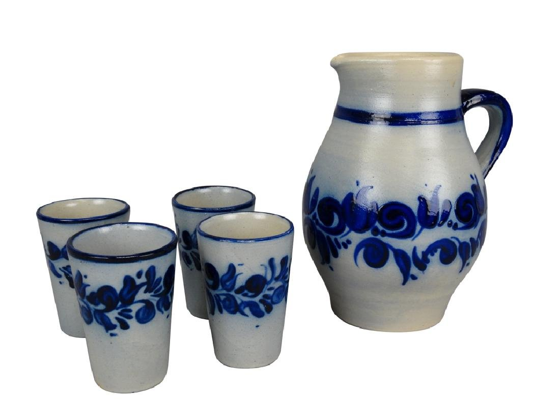 German Glazed Stoneware Pitcher & Glass Set
