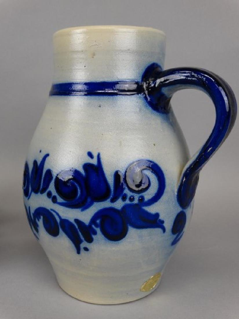 German Glazed Stoneware Pitcher & Glass Set - 2