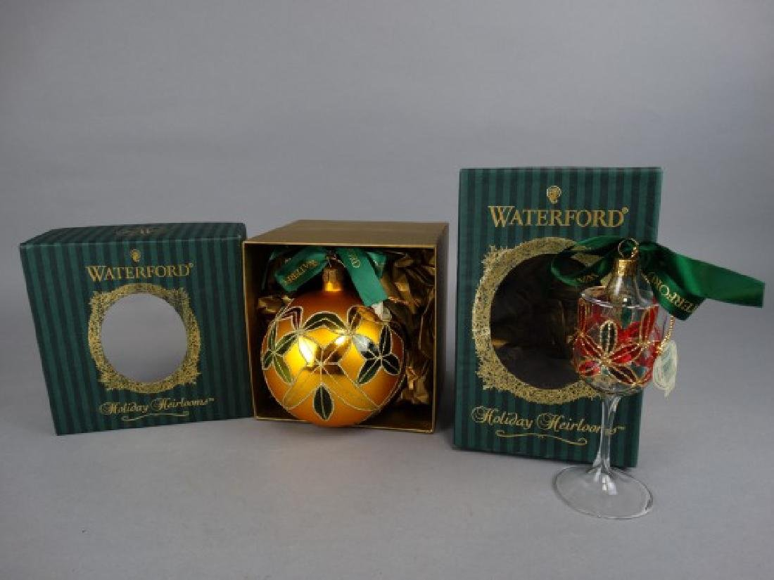 2 Waterford Blown Glass Christmas Ornaments