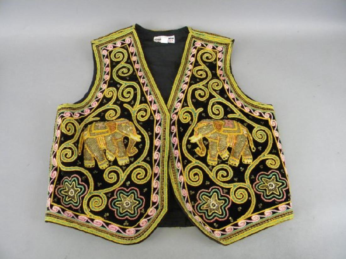 Middle Eastern Embroidered Vest - Elephants