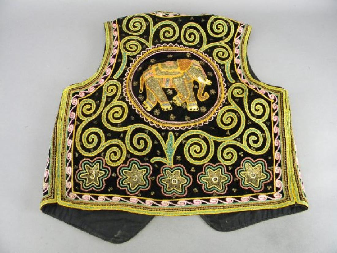 Middle Eastern Embroidered Vest - Elephants - 5