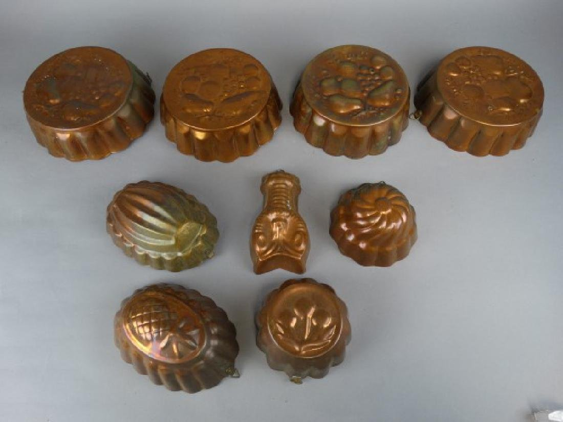Group of Vintage Copper Jell-O Molds