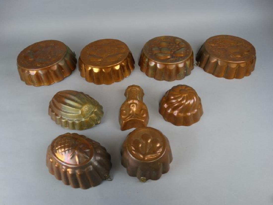 Group of Vintage Copper Jell-O Molds - 2