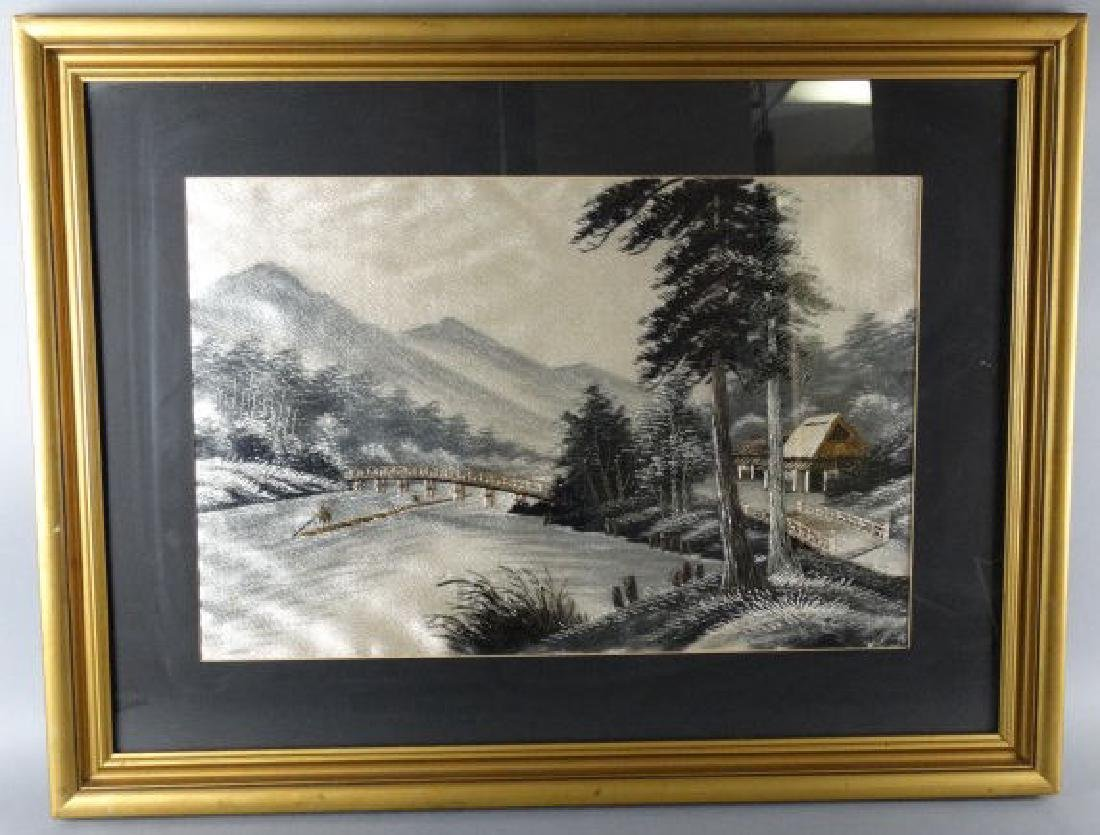 Framed Japanese Silk Embroidered Picture