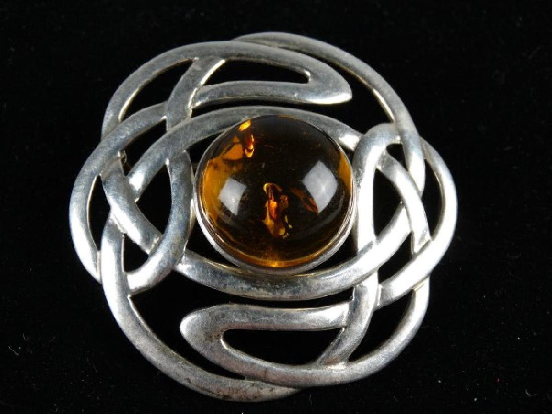 Art Nouveau Sterling Silver & Amber Brooch