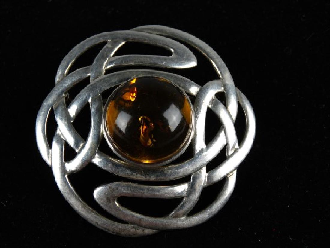Art Nouveau Sterling Silver & Amber Brooch - 2