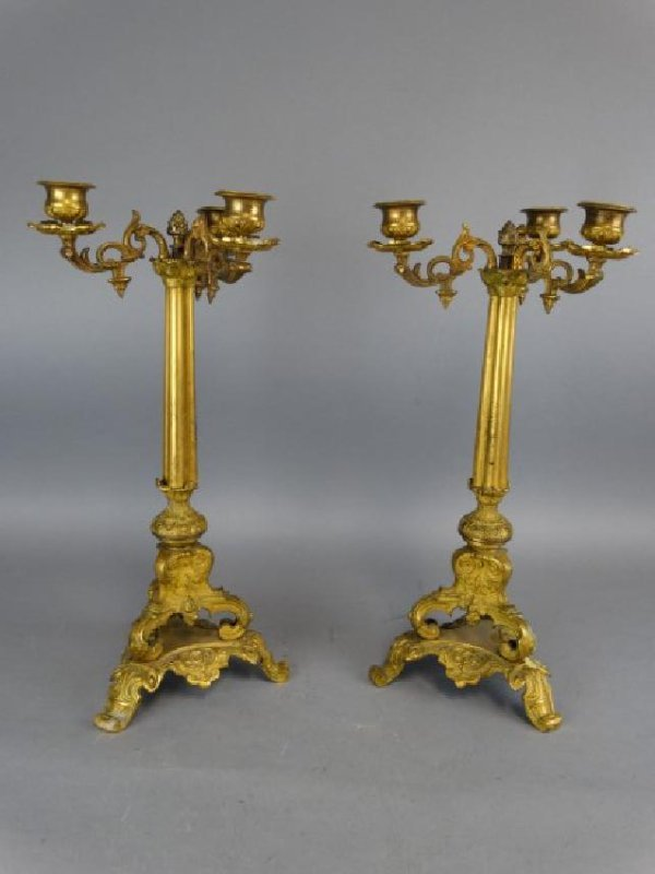 Pair of 19c. Antique Bronze French Candleabras