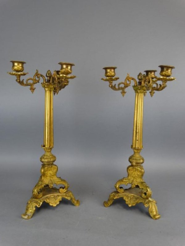 Pair of 19c. Antique Bronze French Candleabras - 2