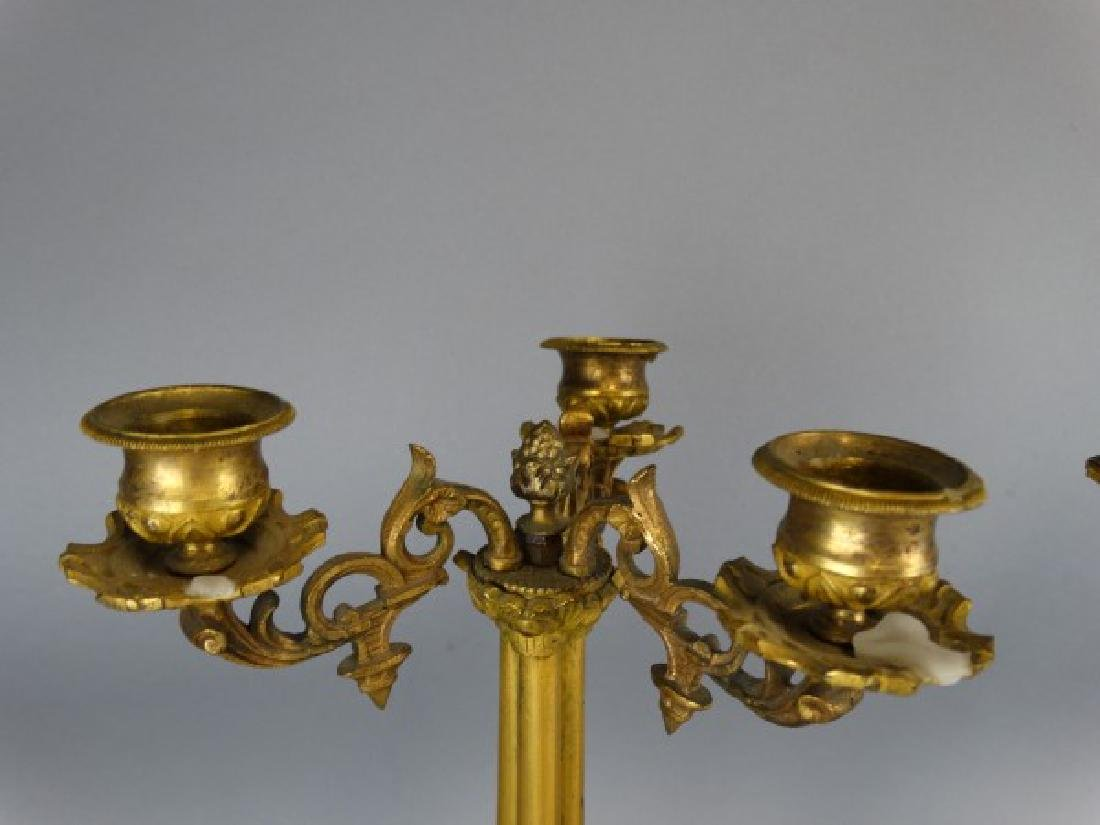 Pair of 19c. Antique Bronze French Candleabras - 3