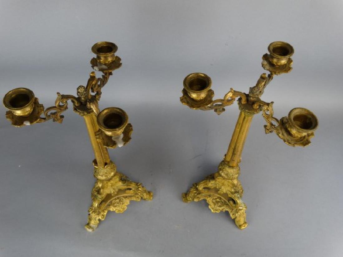 Pair of 19c. Antique Bronze French Candleabras - 5