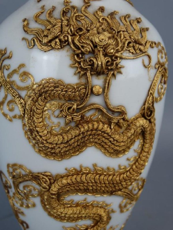 Asian Vase w/ Applied Gold Relief Dragon, Signed - 2