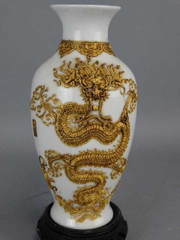 Asian Vase w/ Applied Gold Relief Dragon, Signed - 3