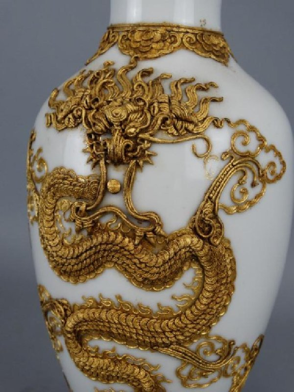 Asian Vase w/ Applied Gold Relief Dragon, Signed - 4