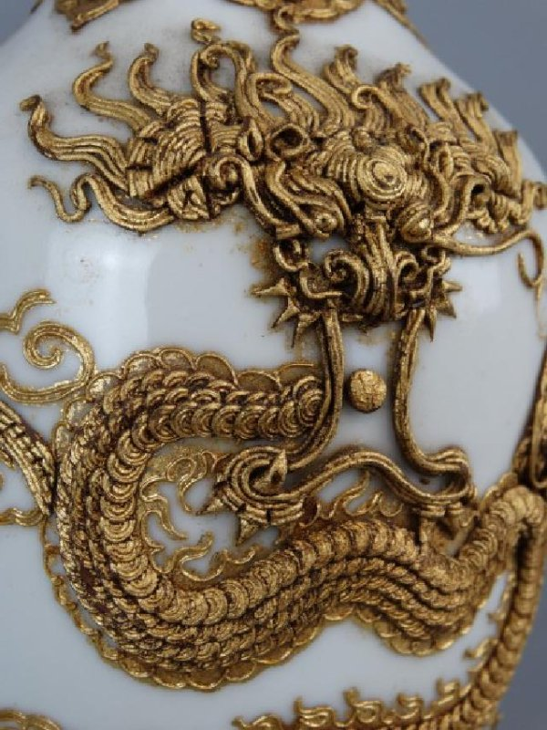 Asian Vase w/ Applied Gold Relief Dragon, Signed - 5