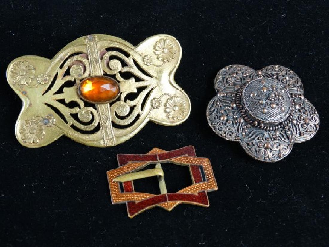 Lot of 3 Art Nouveau Brass & Copper Jewelry Items