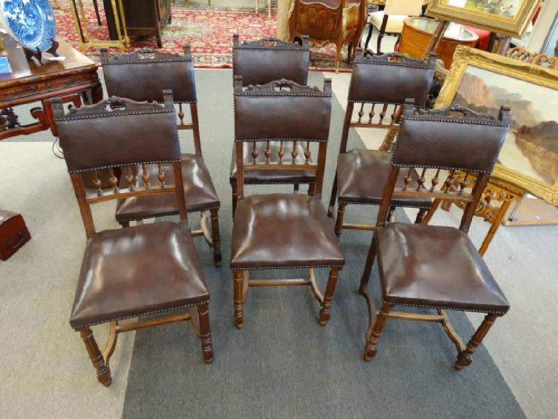 Set of 6 French Leather Dining Chairs