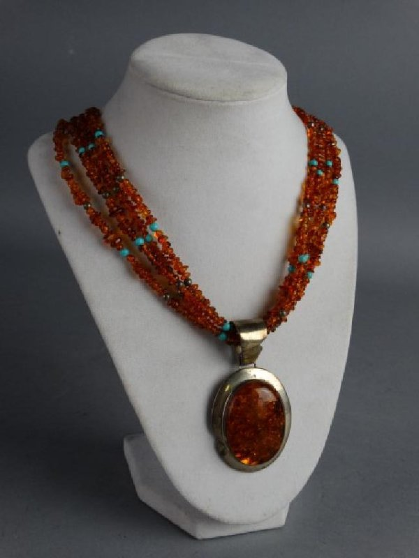 Sterling Silver & Amber Necklace & Pendant