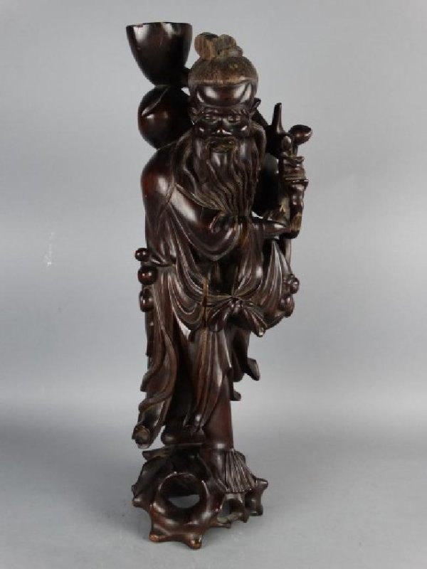 Highly Carved Rosewood Chinese Figure