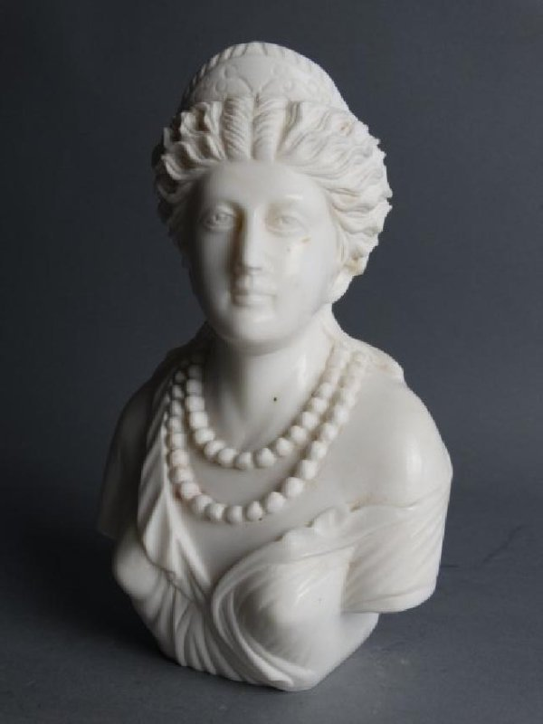 Carved Marble Bust - Continental Lady