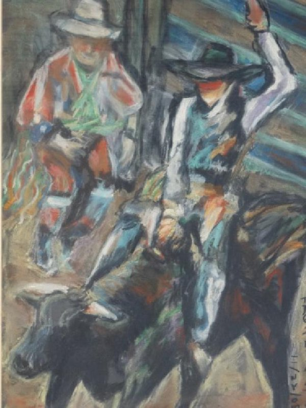 LARRY S. - Pastel Painting 'Bull Rider'