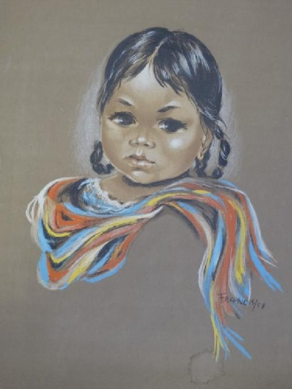 FRANCIS - Pastel Painting on Paper - Indian Girl