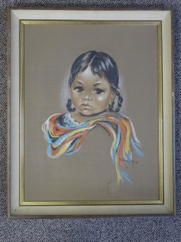FRANCIS - Pastel Painting on Paper - Indian Girl - 2