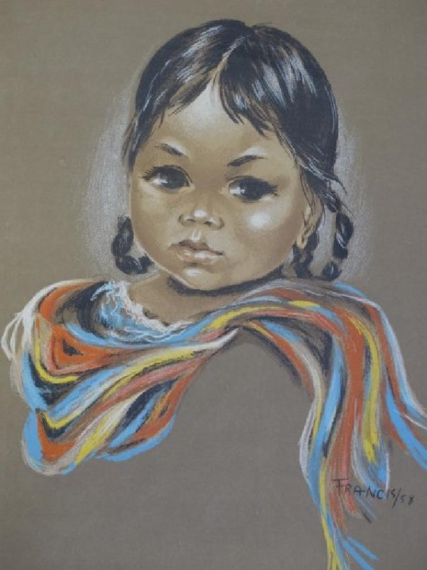 FRANCIS - Pastel Painting on Paper - Indian Girl - 3