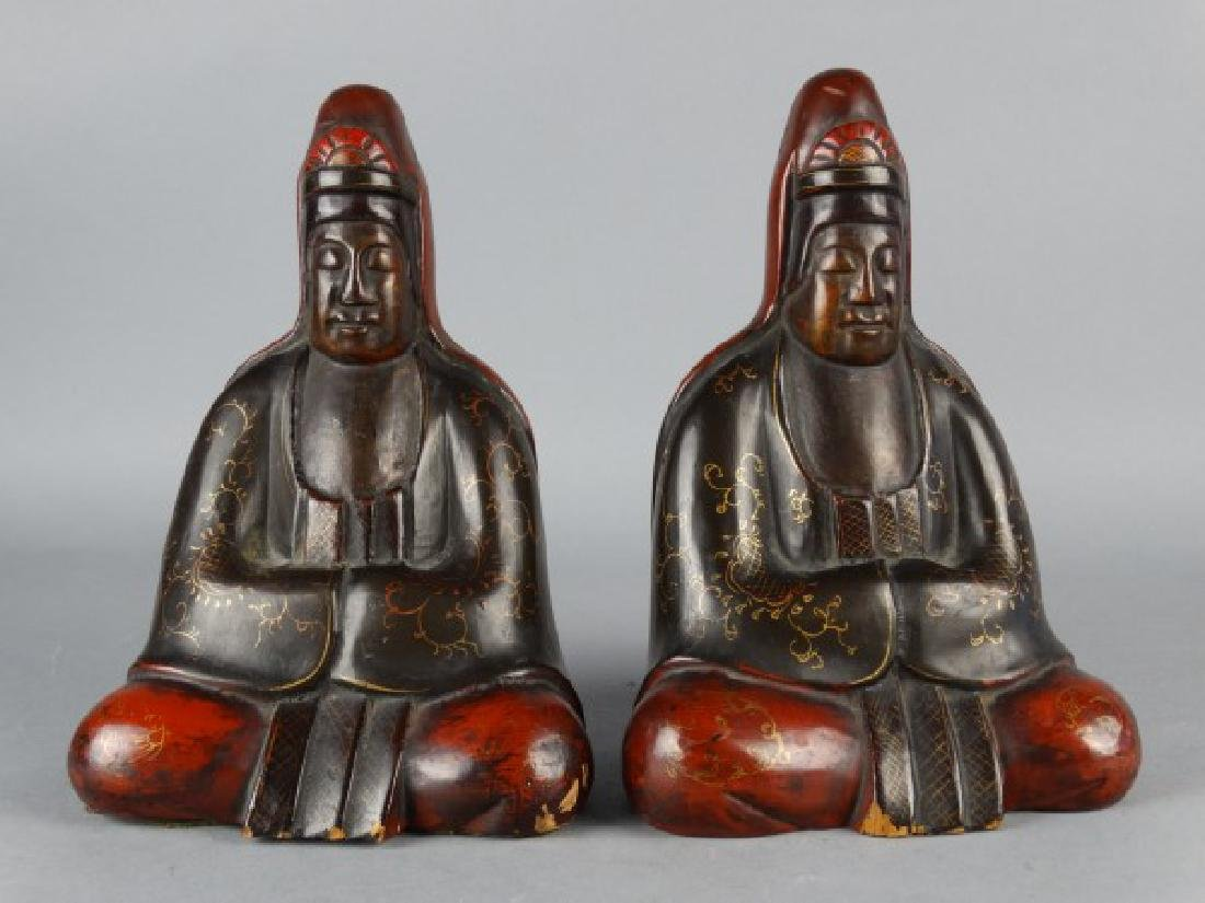 Burmese Lacquered Buddha Bookends