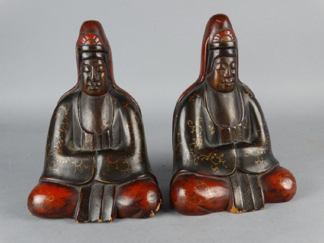 Burmese Lacquered Buddha Bookends - 2